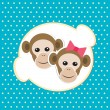 Monkey girl and boy in love; cartoon background — Stock Vector