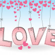 LOVE - hanging pink letters with hearts — Stock Vector