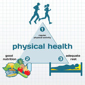 Physical Health infographic: physical activity, good nutrition, — 图库矢量图片