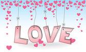 любовь - подвесной розовый письма с сердечками — Cтоковый вектор