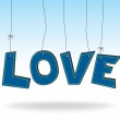 LOVE - hanging blue letters — Stock Vector #19542455