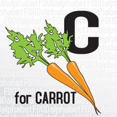 C for carrot, the food alphabet — Stock Vector