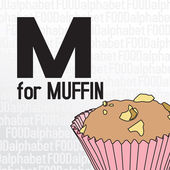 M for muffin, the food alphabet — Stock Vector