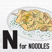 N para los tallarines, el alfabeto de alimentos — Vector de stock