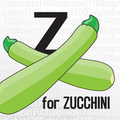 Z for zucchini, the food alphabet — Stock Vector