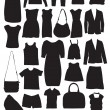 Fashion clothes silhouettes illustrations vector — Stock Vector