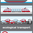 Ecological transport - ship, electric train, electric cars and b — Stock Vector