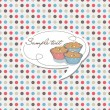 Dotted background with cupcake label - vector — Vector de stock #30560491