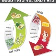 Good fats and bad fats, polyunsaturated and monounsaturated fats — Stockvector #39462303