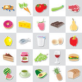 Food icon stickers, various kind, vector — Stock Vector