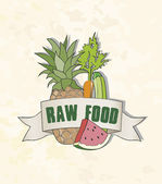 Raw Food sign, fruits and vegetables, pineapple, carrot, zucchin — Stock Vector