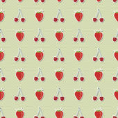 Seamless pattern with strawberries and cherries — Stock Vector