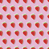 Seamless pattern with strawberries on the pink dotted background — Stock Vector