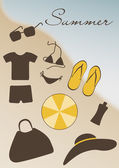 Summer accessories: sun glasses, swimming suite, t-shirt, flip-f — Stock Vector