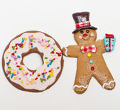 Gingerbread man and cookie — Stock Photo