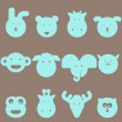 Animal heads icon set — Stock Photo #25932297