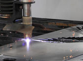 Laser metal cutting — Stock Photo