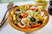 Farfalle with blue cheese salad — Stock Photo