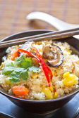 Fried rice with ginkgo, sweet corn, mushroom and carrot — Stock Photo