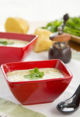 Potato soup with salmon — Stock Photo