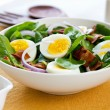 Bacon with egg and spinach salad — Stock Photo #40938301