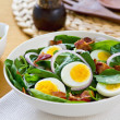 Bacon with egg and spinach salad — Stock Photo #40938447
