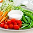 Fresh vegetables with dipping sauce — Stock Photo #40940725