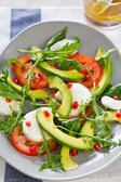 Avocado, mozzarella and pomegranate salad — Stock Photo