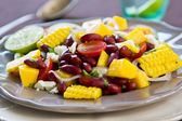 Beans with Mango and Feta cheese salad — Stock Photo