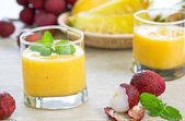 Fresh Lychee, Pineapple and Mango smoothie — Stock Photo