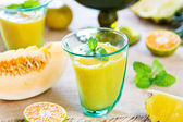 Pineapple with Orange and Melon smoothie — Stock Photo