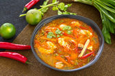 Sour and Spicy soup with Prawn — Stock Photo