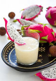 Lychee, Pineapple and Dragon fruit smoothie — Stock Photo