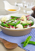Cauliflower with Snap pea salad — Stock Photo
