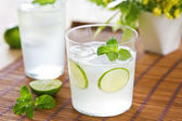 Lime with soda juice — Stock Photo