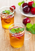 Plum juice with soda — Stok fotoğraf