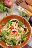 Fusilli with Tuna and olive salad — Stock Photo
