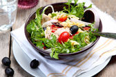 Fusilli with Tuna and olive salad — Stock Photo