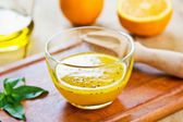 Orange with Black sesame vinaigrette — Stock Photo