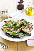 Grilled Aubergine salad with Rocket — Stok fotoğraf