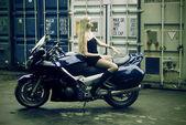 The woman & motorcycle — Stok fotoğraf