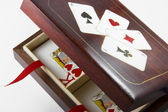 Wooden box for decks of cards — Stock Photo