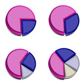 3D Pie Charts 3 — Stock Vector