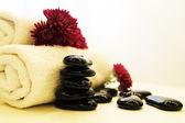石头、 鲜花和毛巾 — 图库照片
