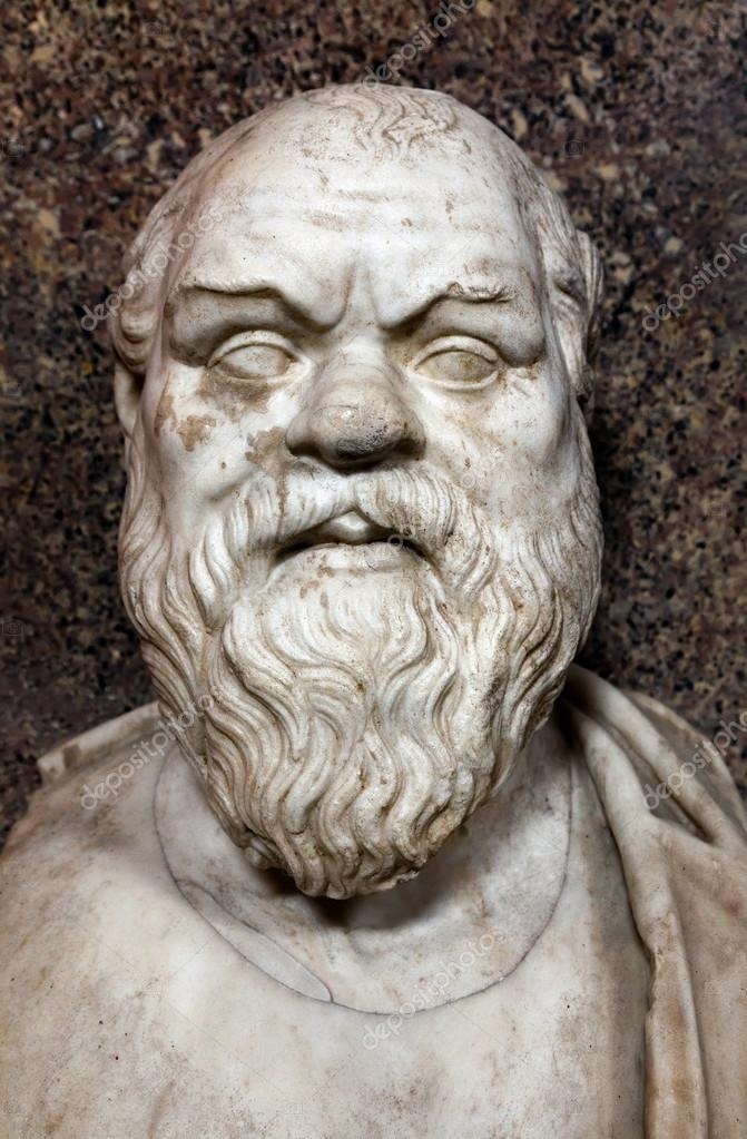 Bust of Socrates. Marble, Roman copy after a Greek original from the 4th century BC — Stock Photo #12539440