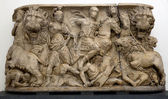 Anceint Roman sarcophagus carved in the ancient Greek style — Stock Photo