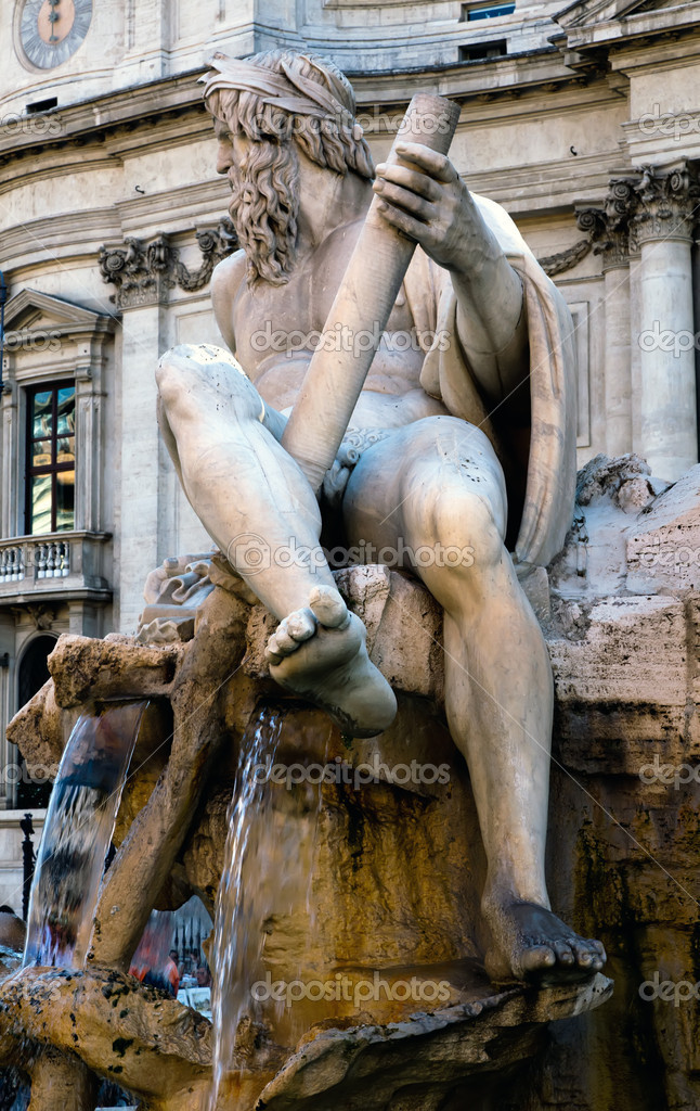 Fontana dei Quattro Fiumi in the centre of Piazza Navona was designed by Bernini and unveiled in 1651.  Zdjcie stockowe #12974528