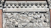 Wall ornament of the Cathedral of St Martin in Lucca, Italy — Stock Photo