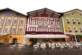 Outdoor restaurant in an Alpine village in Austria — Stock Photo