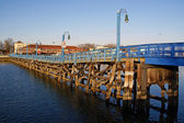Wooden bridge in the Sheepshead Bay — Stock Photo